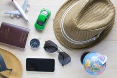 Bagagli dei passaporti dei costumi degli accessori di viaggio Fotografie Stock