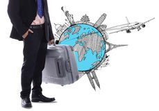 Bagagli della tenuta dell'uomo d'affari di viaggio Fotografie Stock Libere da Diritti
