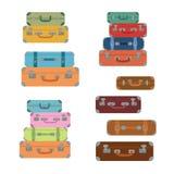 Bagagli delle icone Stile piano Bagaglio delle valigie Fotografia Stock