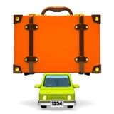 Bagagli di Front View Of Big Travel sull'automobile illustrazione di stock