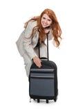 Bagagli di trasporto della donna di affari Fotografie Stock