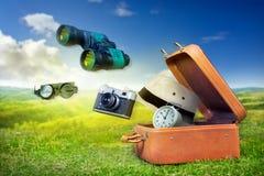 Bagagli di un avventuriere, viaggio Fotografia Stock