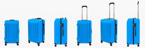 Bagagli duri blu di caso isolati su bianco Immagine Stock