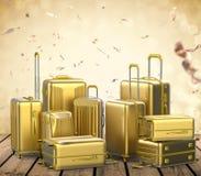 Bagagli duri della cassa dell'oro Immagine Stock Libera da Diritti