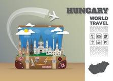 Bagagli globali di Infographic di viaggio e di viaggio del punto di riferimento dell'Ungheria Fotografia Stock Libera da Diritti