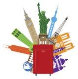 Bagagli per l'illustrazione di vettore di colore di viaggio intorno al mondo Fotografia Stock