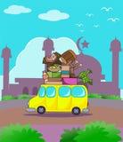 Bagagli pieni dell'automobile sul viaggio del kareem del Ramadan Fotografie Stock