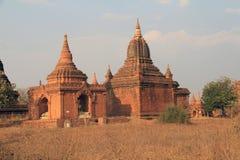 Bagan寺庙在日落2的 库存照片