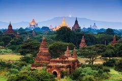 bagan缅甸日出寺庙 免版税库存照片