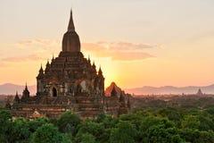 bagan缅甸sulamani日落寺庙 图库摄影