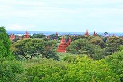 Bagan考古学区域全景,缅甸 库存照片