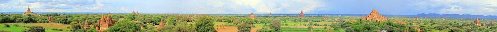 Bagan考古学区域全景,缅甸 免版税库存照片