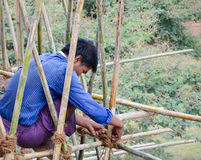 BAGAN,缅甸2016年9月12日:修造有竹子的缅甸人民一个脚手架损坏的寺庙的在earthquak以后 库存图片