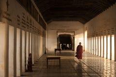 BAGAN,缅甸- 5月3,2013 :未认出的佛教初学者步行 图库摄影