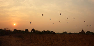 bagan восход солнца myanmar стоковое фото rf