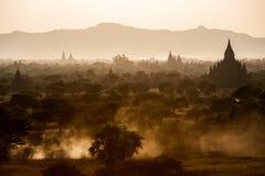 Bagan. Sunset at Bagan pagodas in Myanmar Royalty Free Stock Photo