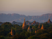 Bagan, an ancient city located in the Mandalay Region of Burma. This image was taken at twilight stock image