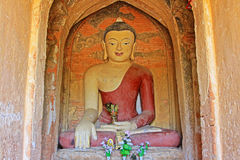 Bagan Archaeological Zone Buddha Image Myanmar Arkivbild