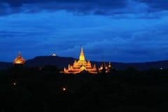 Bagan Archaeological Zone nachts, Myanmar Lizenzfreie Stockbilder