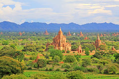 Bagan Archaeological Zone Panorama, Myanmar Stock Afbeelding