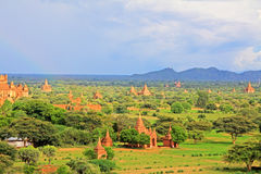 Bagan Archaeological Zone Panorama, Myanmar Stock Foto