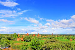 Bagan Archaeological Zone Panorama, Myanmar Royalty-vrije Stock Afbeelding