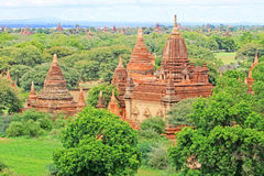 Bagan Archaeological Zone Panorama, Myanmar Stock Afbeeldingen