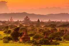 Bagan Archeological Zone. Bagan, Myanmar archeological zone at dusk Royalty Free Stock Photo