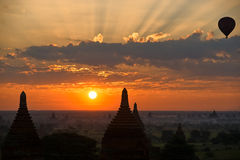 Bagan At Sunrise With Hot Air Balloon, Myanmar. Stock Photo
