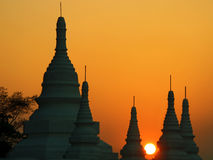 bagan burma sundown Royaltyfri Foto
