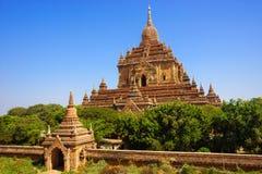 bagan htilominlo缅甸寺庙 免版税库存照片
