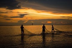 Bagan Lalang Fisherman. This photo was taken at Bagan Lalang, Sepang, Malaysia during sunset Stock Images