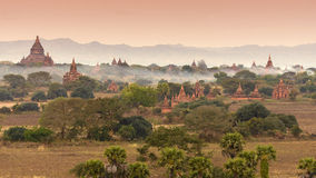Bagan in the mist Royalty Free Stock Image