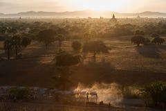 Bagan, Myanmar. Sunset at Bagan pagodas in Myanmar Stock Photography