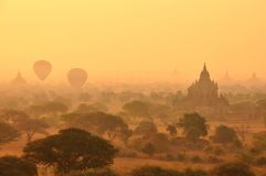 Bagan  Myanmar, Burma in sunset Royalty Free Stock Photo