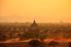 Bagan  Myanmar, Burma in sunset Stock Photos