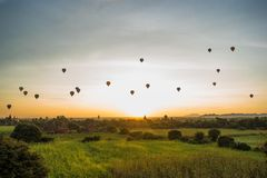 Bagan, Myanmar (Burma. View of the beautiful ballon ride that goes everyday in Bagan during the sunrise stock image