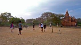 Playing teens in Old Bagan, Myanmar