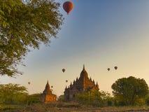 Hot air balloons flying in the morning at  Bagan, Myanmar