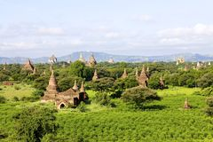 bagan myanmar gammala tempel Arkivbilder