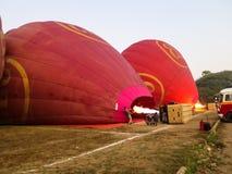 Bagan, Myanmar - January 26, 2015: Balloons Over Bagan using fir. E flame for hot air inflation process Stock Image