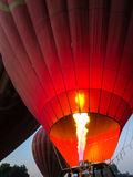 Bagan, Myanmar - January 26, 2015: Balloons Over Bagan using fir. E flame for hot air inflation process prepared for flying Stock Images