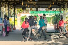 BAGAN-Myanmar, January 21, 2019 : Unidentified Peoples on motorcycles waiting in line for refuel at gas station on january 21,2019 royalty free stock photography