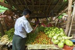 BAGAN, MYANMAR: LUTY 21, 2015: Lokalne kobiety sprzedają ich produ Zdjęcia Stock