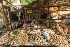 BAGAN, MYANMAR: LUTY 21, 2015: Lokalne kobiety sprzedają ich produ Zdjęcie Stock