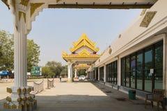 BAGAN, MYANMAR - Maart 14, 2015: Buitenmening van de internationale luchthaven van BAGAN Stock Fotografie