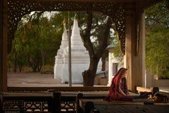 BAGAN, MYANMAR - 3. MAI 2013: Südostasiatischer betender Neophyt Lizenzfreie Stockfotos