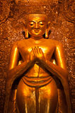 BAGAN, MYANMAR - MAT 4: Standing Buddha Kassapa at south facing Royalty Free Stock Images