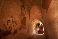 BAGAN, MYANMAR - MAY 4: Buddha statue inside ancient pagoda Stock Photos