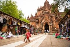 BAGAN, MYANMAR - MAY 4: Main entrance of an ancient pagoda in Ol Stock Photography